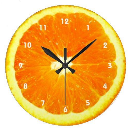 Orange fruit Clock with numbers