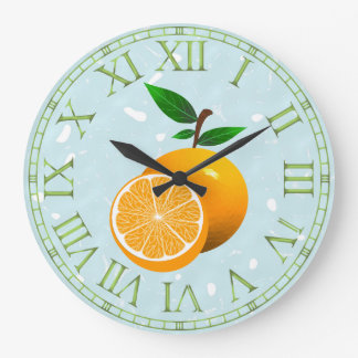 Orange Fruit Large Clock