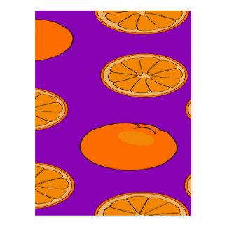 Orange fruit pattern postcard
