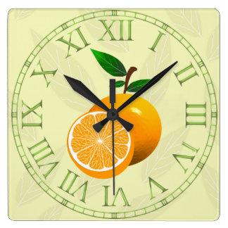Orange Fruit Square Wall Clock