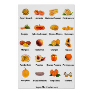 Orange Fruits and Vegetables Poster