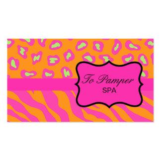 Orange & Fuchsia Pink Zebra & Cheetah Skin Custom Pack Of Standard Business Cards