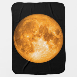 orange full moon baby blanket