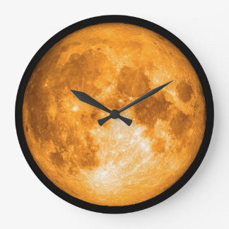 orange full moon large clock
