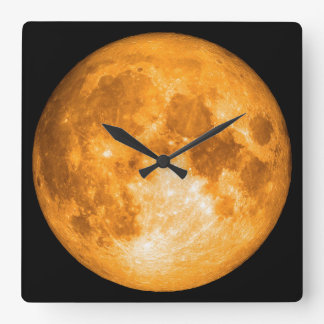 orange full moon square wall clock