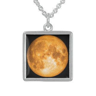 orange full moon sterling silver necklace