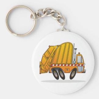 Orange Garbage Truck Basic Round Button Key Ring