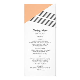 Orange Geometric Stripe Wedding Menu 4x9.25 Paper Invitation Card