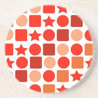 Orange Geometrics on Round Drink Coaster