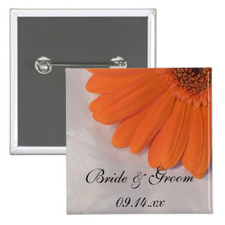 Orange Gerber Daisy and White Satin Wedding 15 Cm Square Badge
