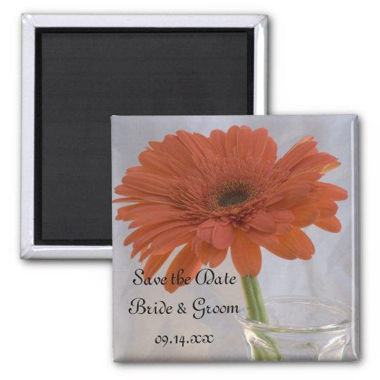 Orange Gerber Daisy in Vase Wedding Save the Date Magnet