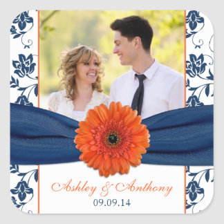 Orange Gerber Daisy Navy Damask Wedding Stickers