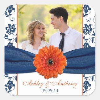 Orange Gerber Daisy Navy Damask Wedding Stickers Sticker