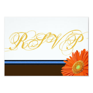 Orange Gerbera Blue Brown w/ Gold Script RSVP Card