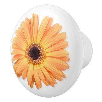 Orange Gerbera Ceramic Knob