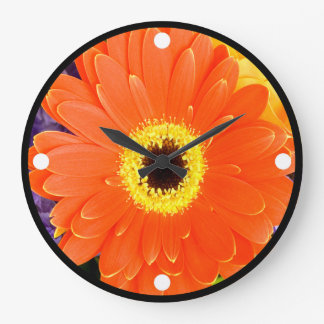 Orange Gerbera Clock
