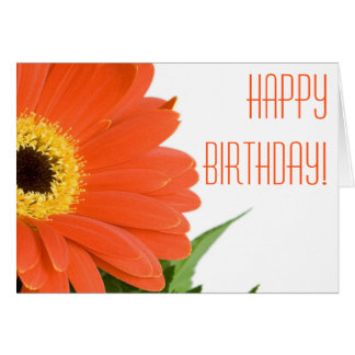 Orange Gerbera Daisy Birthday Card