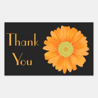 Orange Gerbera Daisy Black Floral Sticker / Seal