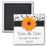Orange Gerbera Daisy Black Scroll Save the Date