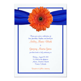 Orange Gerbera Daisy Blue Wedding Invitation