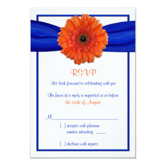Orange Gerbera Daisy Blue Wedding Reply Card
