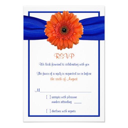 Orange Gerbera Daisy Blue Wedding Reply Card Personalized Invites