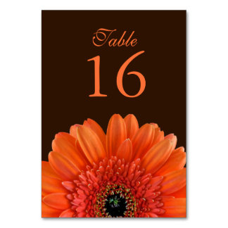 Orange Gerbera Daisy Brown Wedding Table Card