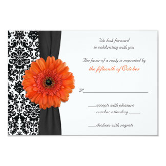 Orange Gerbera Daisy Damask Wedding Reply Card