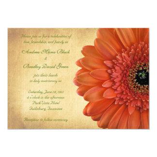 Orange Gerbera Daisy Fall Wedding Invitation