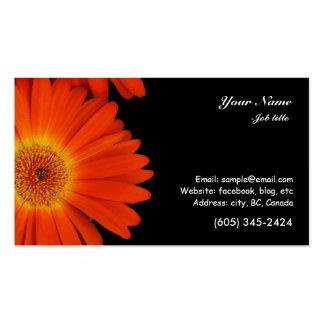 orange gerbera daisy flowers business card templates