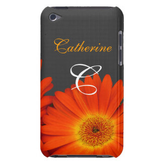 orange gerbera daisy flowers monogram case with fi barely there iPod cases
