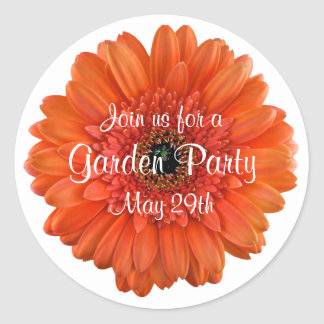 Orange Gerbera Daisy Garden Party Envelope Seal