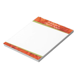 Orange Gerbera Daisy Green Personalized Notepad