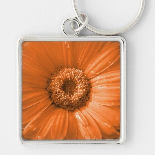 Orange Gerbera Daisy Keychain
