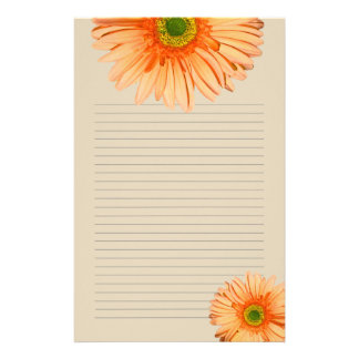 Orange Gerbera Daisy Lined Personal Writing Paper Customised Stationery