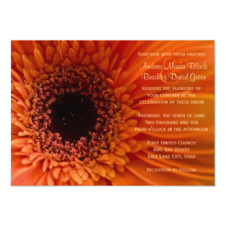 Orange Gerbera Daisy Macro Wedding Invitation
