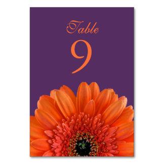 Orange Gerbera Daisy Purple Wedding Table Card
