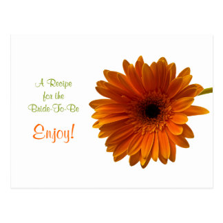 Orange Gerbera Daisy Recipe Card Postcard