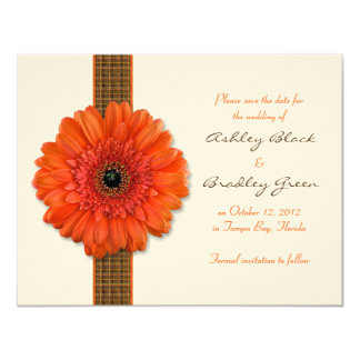 Orange Gerbera Daisy Save the Date Card