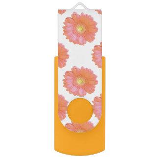 Orange gerbera daisy swivel USB 2.0 flash drive