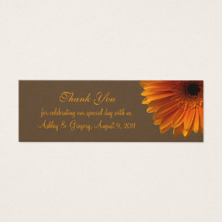 Orange Gerbera Daisy Wedding Favor Tag Mini Business Card