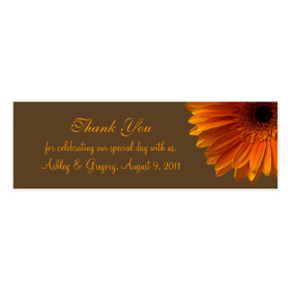 Orange Gerbera Daisy Wedding Favour Tag Pack Of Skinny Business Cards