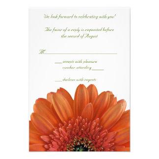 Orange Gerbera Daisy Wedding Reply RSVP Card Custom Invites