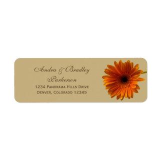 Orange Gerbera Daisy Wedding Return Address Labels