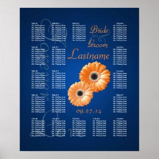 Orange Gerbera Daisy Wedding Seating Chart Poster