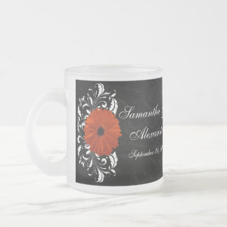 Orange Gerbera Daisy with Black and White Scroll Frosted Glass Coffee Mug