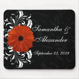 Orange Gerbera Daisy with Black and White Scroll Mouse Pad