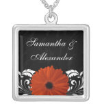 Orange Gerbera Daisy with Black and White Scroll Square Pendant Necklace