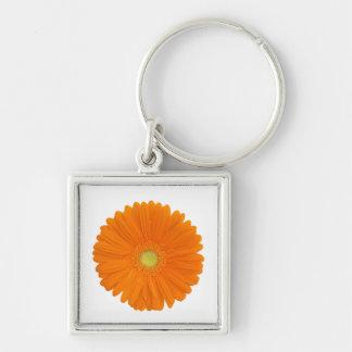 orange gerbera flower keychain