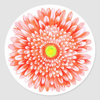Orange Gerbera Large Glossy Round Sticker